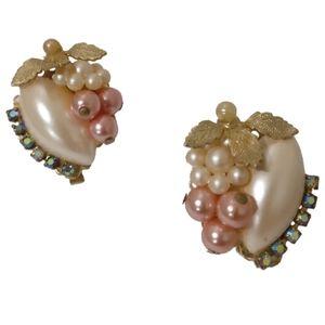 vintage fruit salad earrings early Haskell